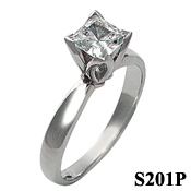14k Gold CZ/Cubic Zirconia Tulipset Princess Solitaire Engagement Ring - Product Image