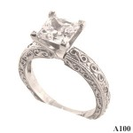 Sterling Silver~Antique Style Fancy Engagement Ring - Product Image