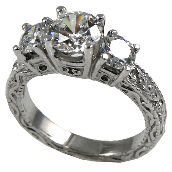 Sterling Silver 2.25 ctw 3 Stone Victorian CZ Cubic Zirconia Ring - Product Image
