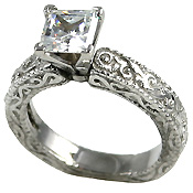 Sterling Silver Antique Victorian Engagement CZ Cubic Zirconia Ring - Product Image