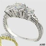 Sterling Silver 3 Stone Antique/Deco style CZ Cubic Zirconia Ring - Product Image