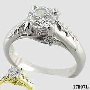 Sterling Silver Antique/Floral Solitaire CZ Cubic Zirconia Ring - Product Image