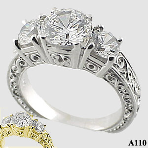 Sterling Silver 2.5ctw 3 Stone Antique/Deco Cubic Zirconia Ring - Product Image