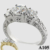 Sterling Silver 2 ctw 3 Stone Antique/Deco CZ Cubic Zirconia Ring - Product Image