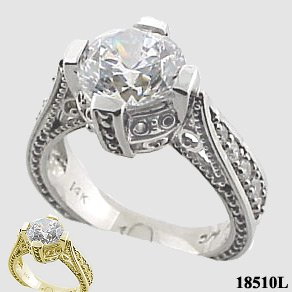 Sterling Silver 2ct Fancy Antique/Victorian CZ Cubic Zirconia Ring - Product Image