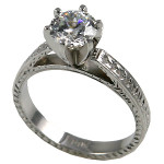 14k Gold CZ Cubic Zirconia Rings Antique Cathedral Engagement Ring - Product Image