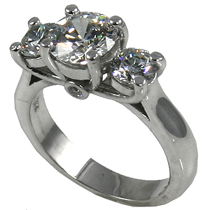 14k Yellow or White Gold Modified Lucern 3 Stone CZ/Cubic Zirconia Ring - Product Image