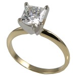 14k Gold Russian CZ Princess Solitaire/Engagement Ring - Product Image