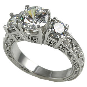 14k Gold 2.5 ctw 3 Stone Antique/Deco Band Wedding CZ Ring - Product Image