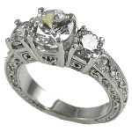 14k Gold 2.5 ctw 3 Stone Antique/Deco Band Wedding CZ Ring - Product Image