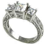 14k Gold 2ctw 3 Stone Princess Antique Band Wedding Set CZ Ring - Product Image