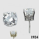 14k Gold Antique/Scroll Style CZ Cubic Zirconia Earrings - Product Image