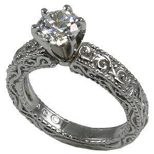 Palladium Cz Zirconia Antique Victorian Engagement