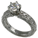Palladium CZ Zirconia Antique Victorian Engagement Solitaire Ring - Product Image