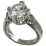 Sterling Silver 3ct Fancy Antique/Victorian CZ Cubic Zirconia Ring - Product Image