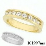 Sterling Silver CZ/Cubic Zirconia 10 Stone Channel Band Ring HEAVY! - Product Image