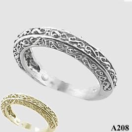 Sterling Silver Antique Fancy Filigree Wedding Band Ring