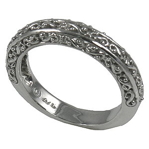 Sterling Silver Antique Fancy Filigree Wedding Band Ring - Product Image
