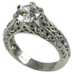 Sterling Silver Antique/Filigree Solitaire CZ Cubic Zirconia Ring - Product Image