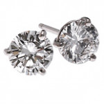 Sterling Silver 3 Prong Russian CZ Cubic Zirconia Stud Earrings - Product Image