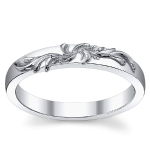 Sterling Silver Antique Fancy Floral Wedding Band Ring - Product Image