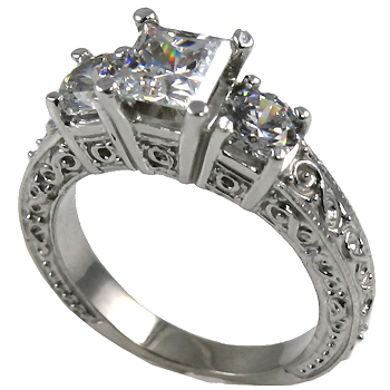 Sterling Silver 2 ctw 3 Stone Antique Princess/Round Cubic Zirconia Ring - Product Image