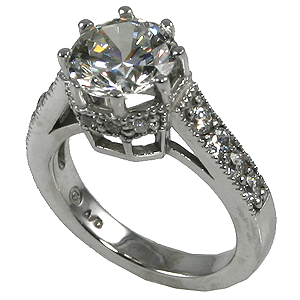 Sterling Silver CZ Cubic Zirconia 8 Prong Engagement Ring w/ accents - Product Image