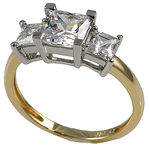 14k Gold Cubic Zirconia 3 Stone Princess Cut Anniversary Ring - Product Image