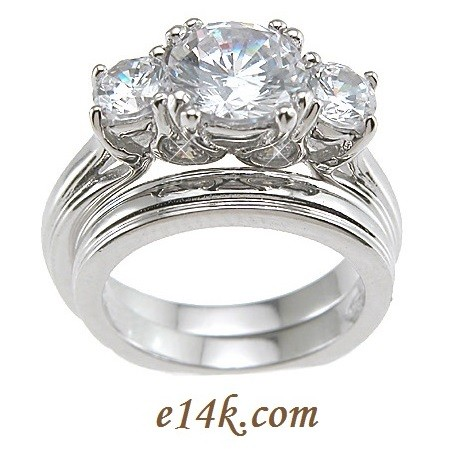 Sterling Silver Round Brilliant Cut Russian Cz Three Stone