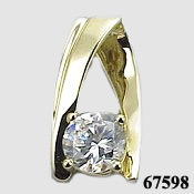 Solid 14k White Gold 1ct Russian CZ Cubic Zirconia Ribbon Slide/Pendant - Product Image