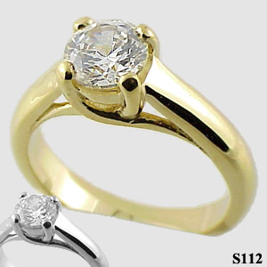 14k Gold CZ Cubic Zirconia Lucern Engagement Wedding Ring - Product Image