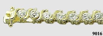 "Solid 14k Gold 5 Carat ""S"" Link CZ Cubic Zirconia Tennis Bracelet - Product Image"