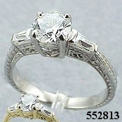 14k Gold Antique Round/Baguette CZ Cubic Zirconia Ring - Product Image