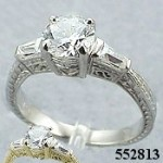14k Gold Antique Round/Baguette CZ Cubic Zirconia Ring - Product Image