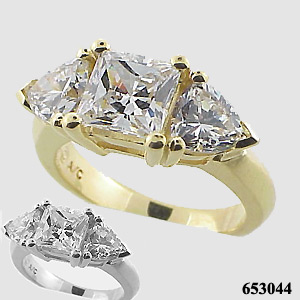 14k White Gold 3 Carat Princess/Trillion CZ Cubic Zirconia Ring - Product Image