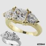 14k White Gold 3 Carat Princess/Trillion CZ Cubic Zirconia Ring - Product Image