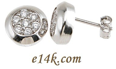 .925 Sterling Silver 0.50ctw CZ Pave' Set Round Brilliant Cubic Zirconia Earrings - Product Image