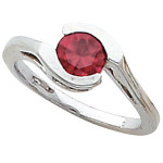 Bezel Set Bypass Ring Mounting for Round Russian CZ Solitaire Birthstone - Product Image