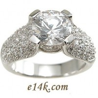 HUGE 3.50ct Center CZ Sterling Silver Antique Style Cubic Zirconia Pave' Set Ring  - Product Image