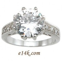 HUGE Sterling Silver 4.00cttw Fancy Antique Inspired Victorian CZ Cubic Zirconia Ring - Product Image