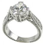 Platinum 1.5 or 2ct Fancy Antique/Victorian CZ Cubic Zirconia Ring - Product Image