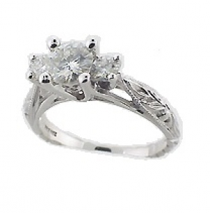 Platinum Dainty Antique Scuplture Style CZ Cubic Zirconia 3 Stone Ring - Product Image
