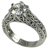 Platinum Antique/Filigree Solitaire CZ Cubic Zirconia Ring - Product Image