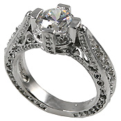 Platinum Antique/Victorian Solitaire CZ Cubic Zirconia Ring - Product Image