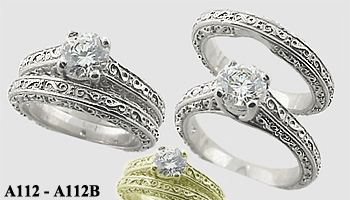 Platinum Antique style Wedding Set CZ Cubic Zirconia Ring - Product Image