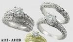 Platinum Antique style Wedding Set CZ Cubic Zirconia Ring - Product Image
