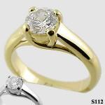 Platinum CZ Cubic Zirconia Lucern Solitaire Engagement Wedding Ring - Product Image