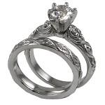 Platinum Lotus Crest Antique Wedding Set Cubic Zirconia Rings - Product Image