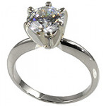 Platinum Cubic Zirconia CZ Solitaire Engagement Ring - Product Image