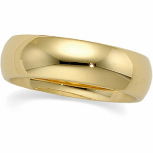 Solid 14k Gold 6mm Wedding Band Ring - Product Image
